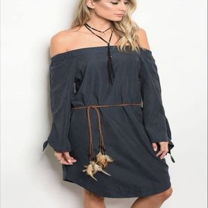 Off the Shoulder dress with feather waist tie